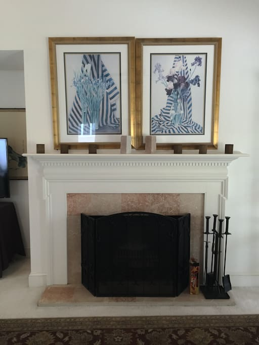 Marble fireplace in the living room