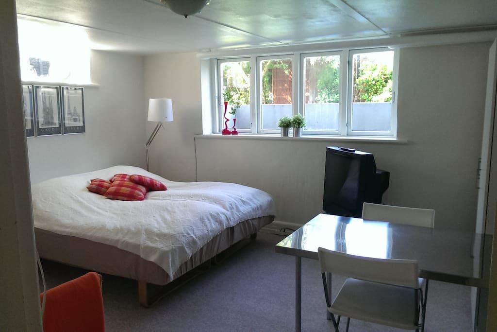 Dobbeltværelse med tv, og flot lys indfald. www.friisbb.dk