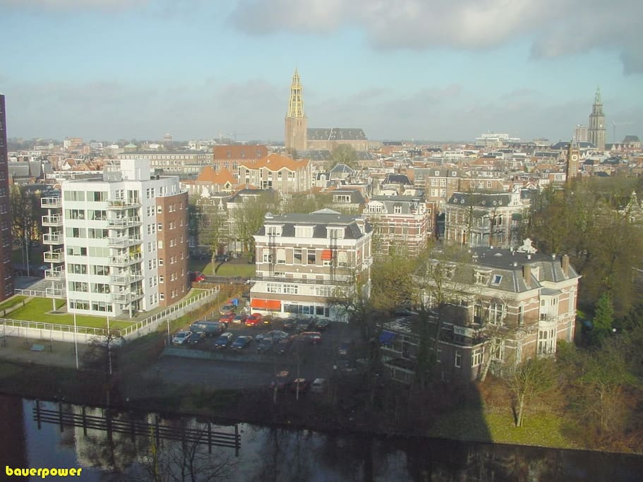 In the distance you see the A-Kerk and the Martini Tower. The apartment is foreground left
