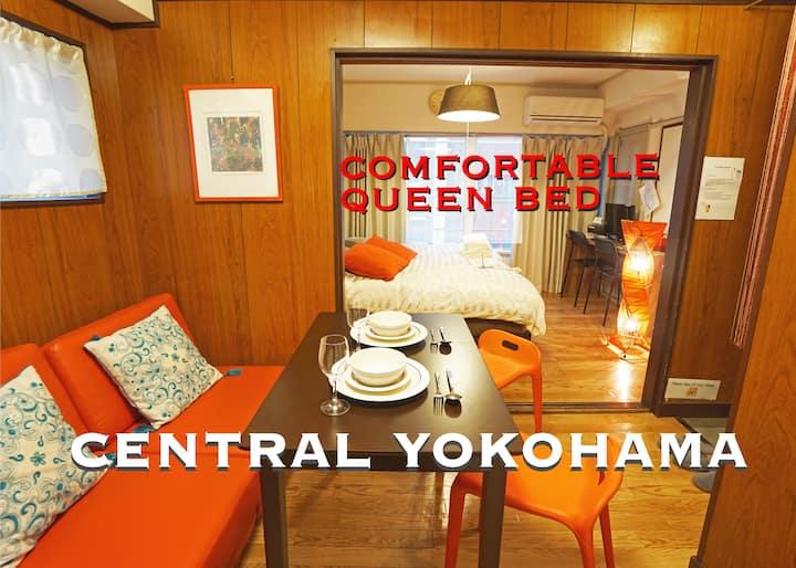 Queen bed in Central Yokohama / 4 min to JR sta.
