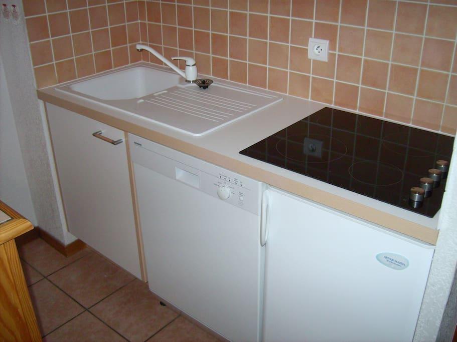 Cuisine équipée (4 plaques de cuisson vitro, lave-vaisselle, micro-ondes, mini-four, cafetière, bouilloire, appareil à raclette, grille-pain...)