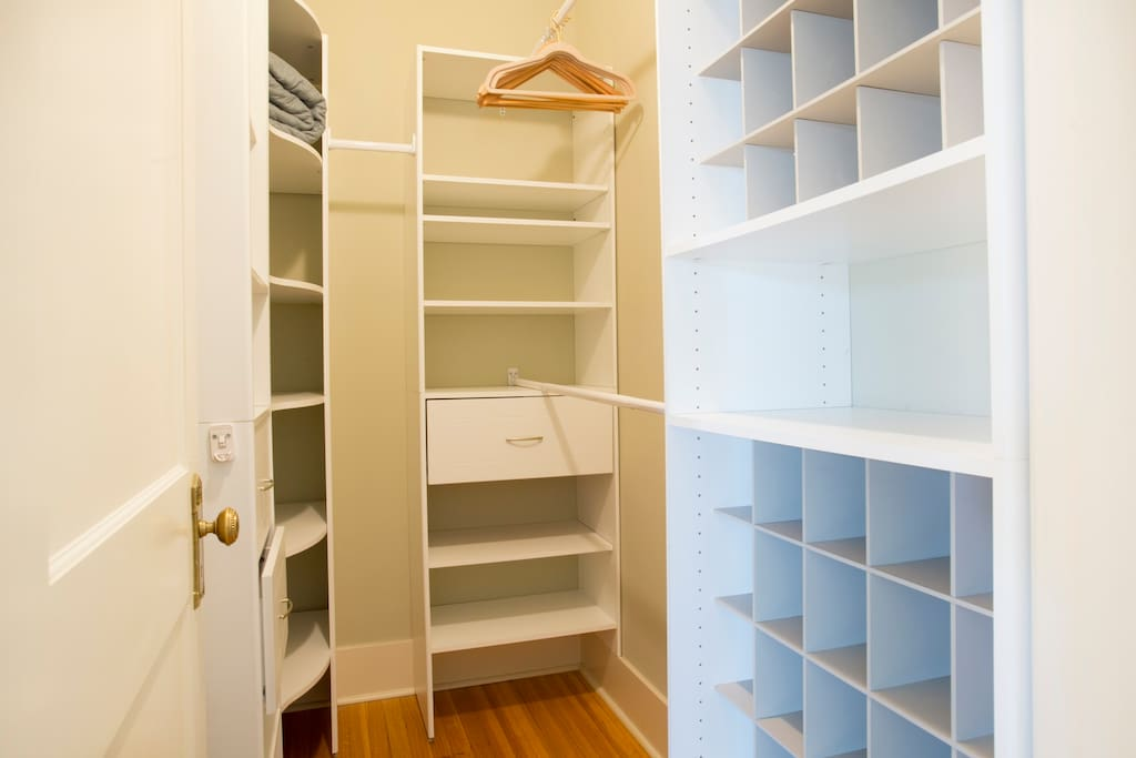 The walk in closet has spaces for 50 shoes, so go ahead and pack as many as you need.
