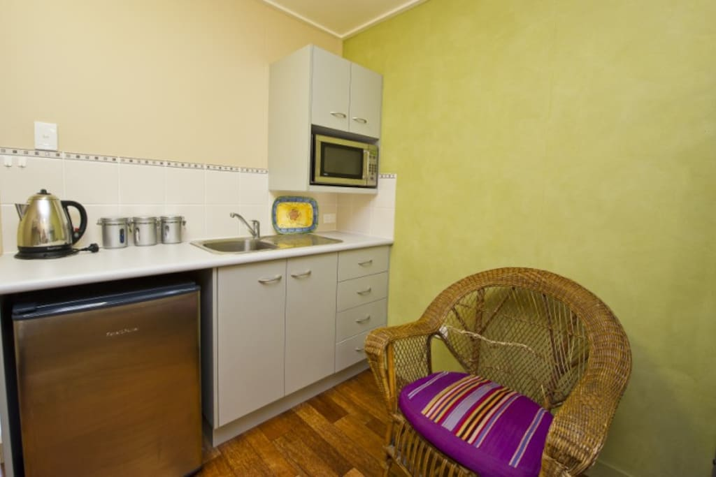 Kitchenette complete with bar frig, microwave,kettle,toaster