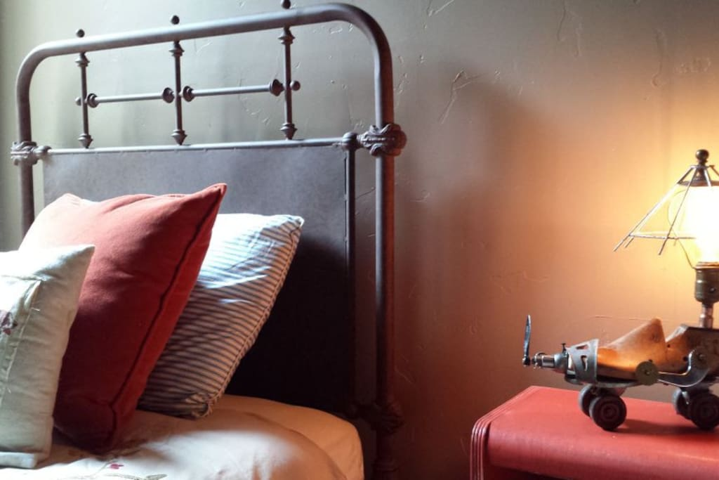 'Red Room' with my wife's handmade craft lamp...