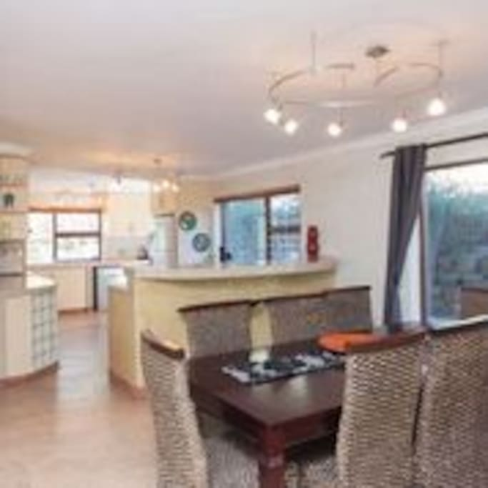 open plan kitchen and diningroom