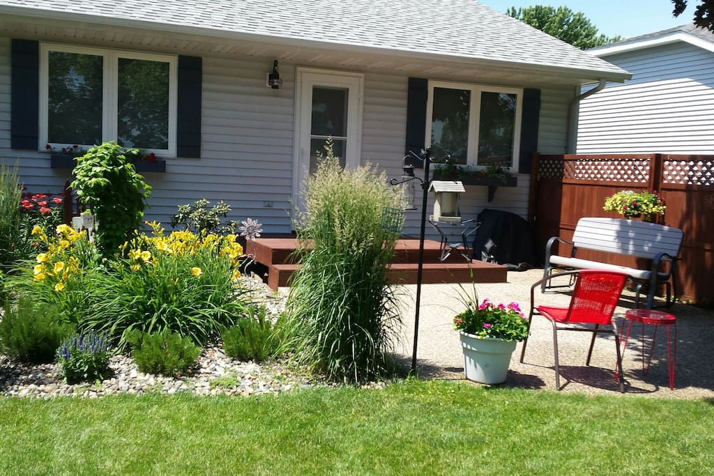 Flowers and a private back yard for you to enjoy.