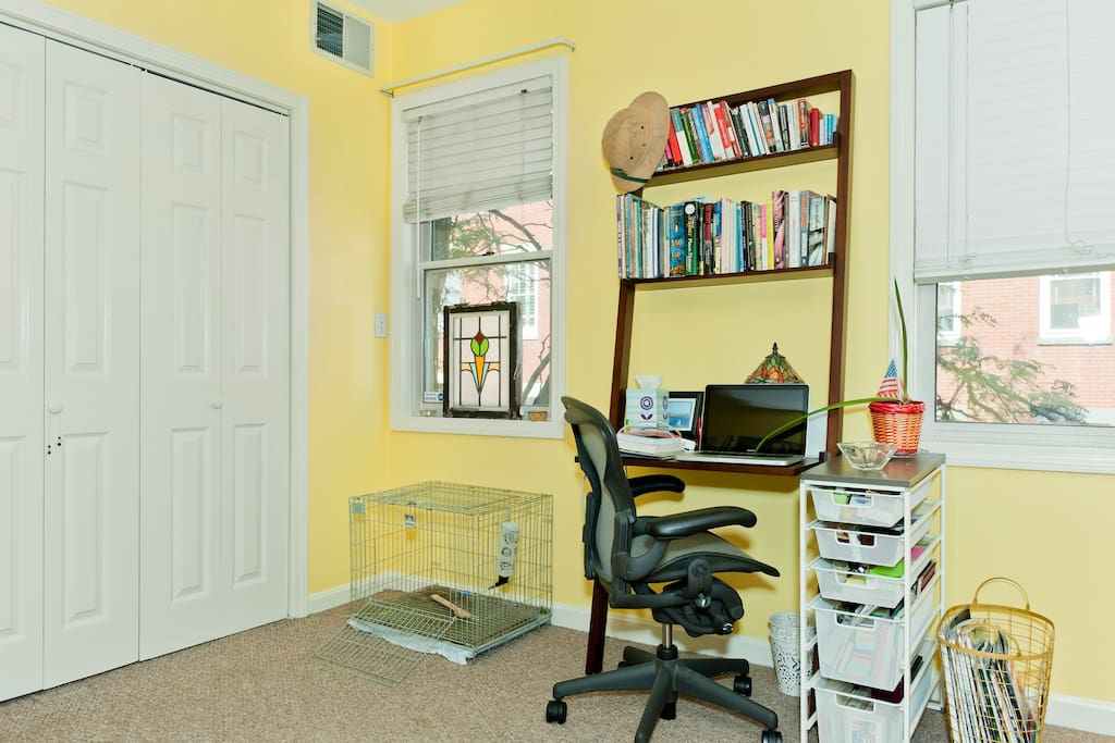 Desk area. Office supplies are available if needed.