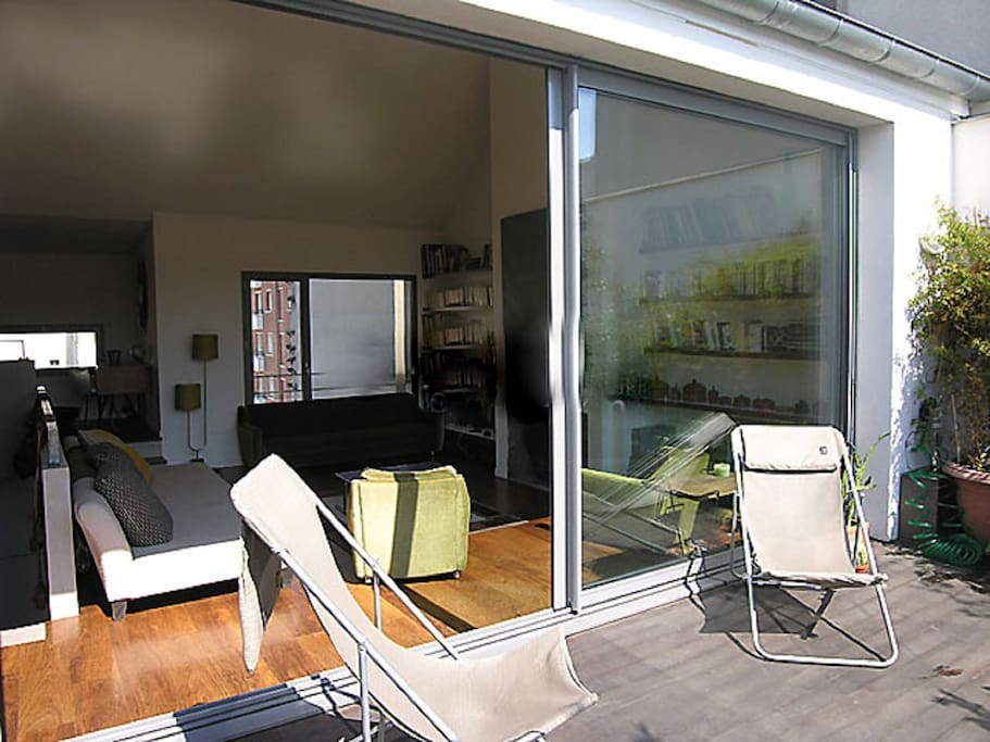 The 15 square meters terrace is leading to the living room, the perfect place to do nude sunbathing