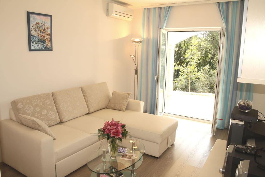 Living room with sofa bed - air conditioned