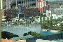 View of the Bellagio fountains from the windows