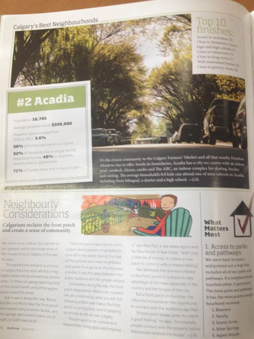 Acadia #2 in Calgary. Our Neighbourhood just got rated #2 in Calgary by Avenue Magazine!