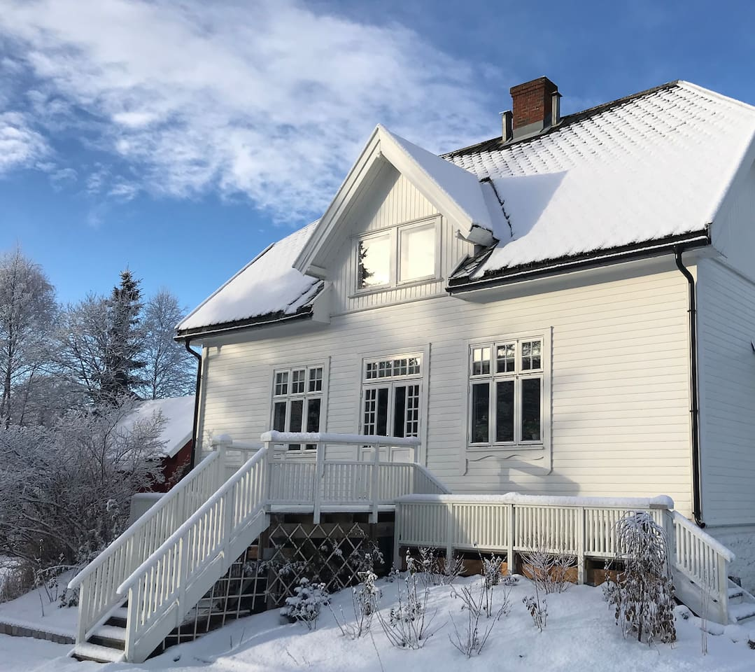 Classic wooden jugend villa with big garden, winter.