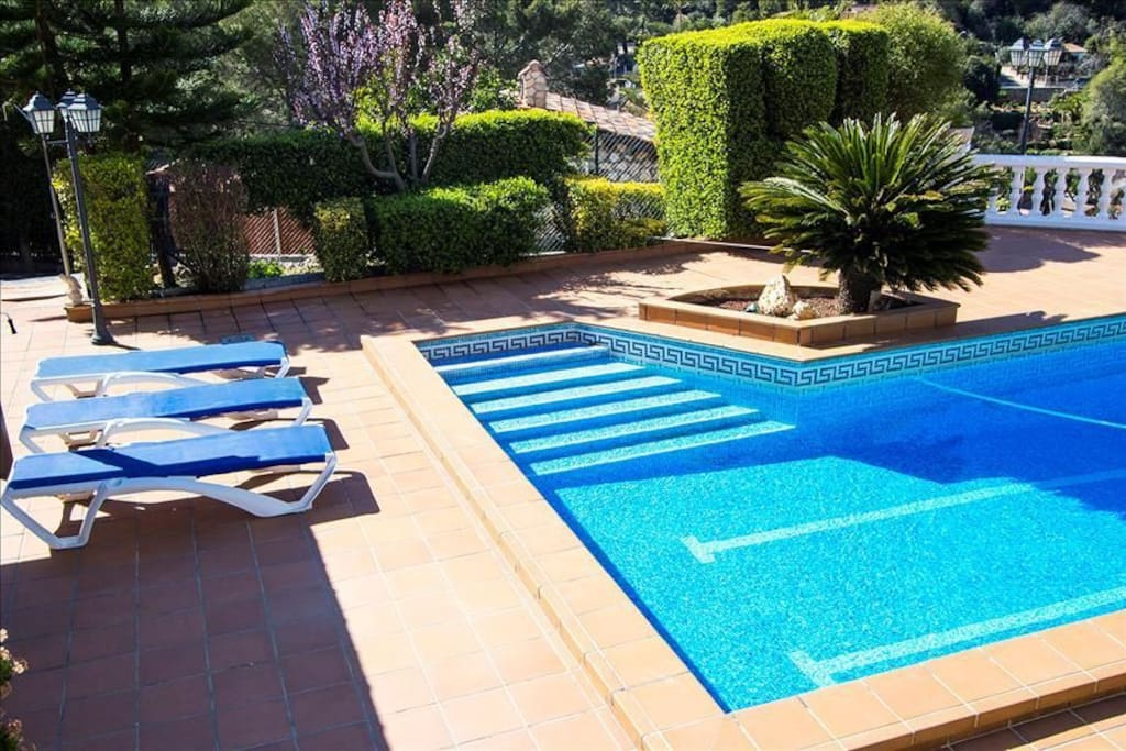 Private pool and sunbeds