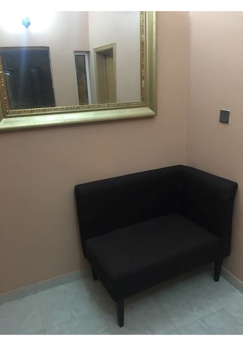 Pre arrival area where you can host your guest without them having access to any of your common areas or bedrooms. It has a visitors washroom on its right side and an air condition