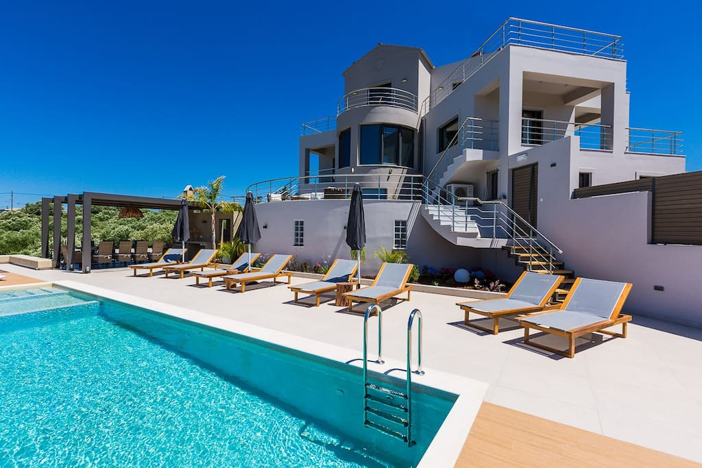 Overlooking the villa from the pool
