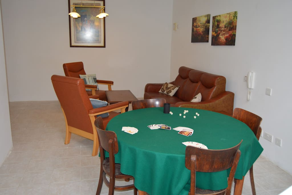 Downstairs chill area with card table