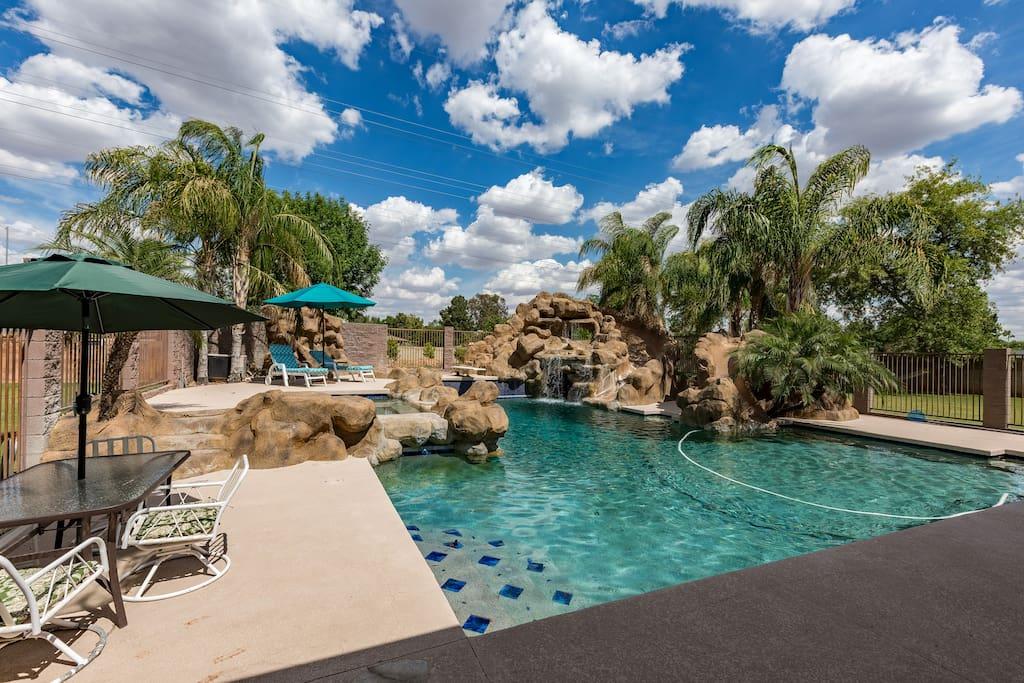 Mesa waterslide estate weddings family events houses for Indoor pool mesa az