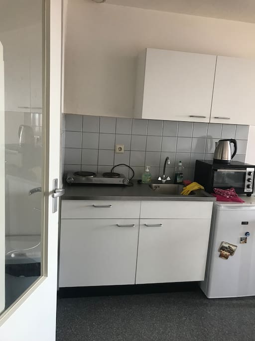 Kitchen with electric plate, fridge, small oven and a water cooker
