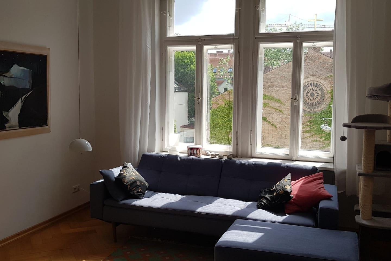 Wohnzimmer, bequeme schlafcouch 120x200