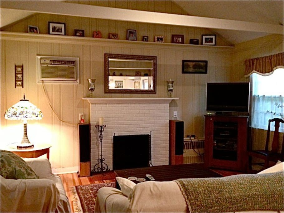 Living room w/ working fireplace and flat screen tv, queen sleeper sofa.