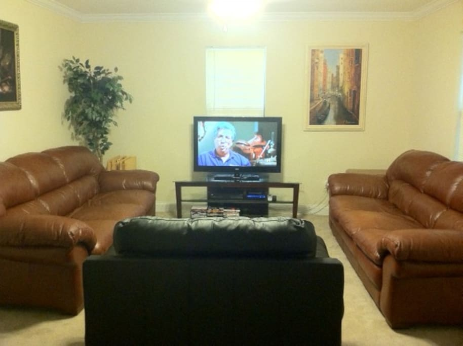 The livingroom features directv & dvd player for your enjoyment