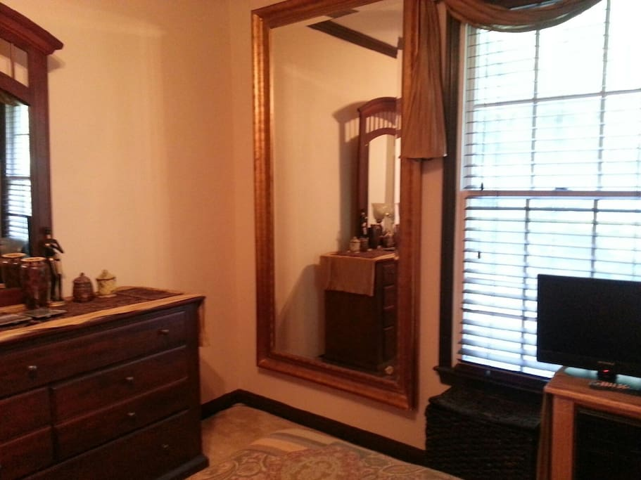 Matching Dresser, Full Length Mirror, Wood Blinds, Custom Window Coverings.