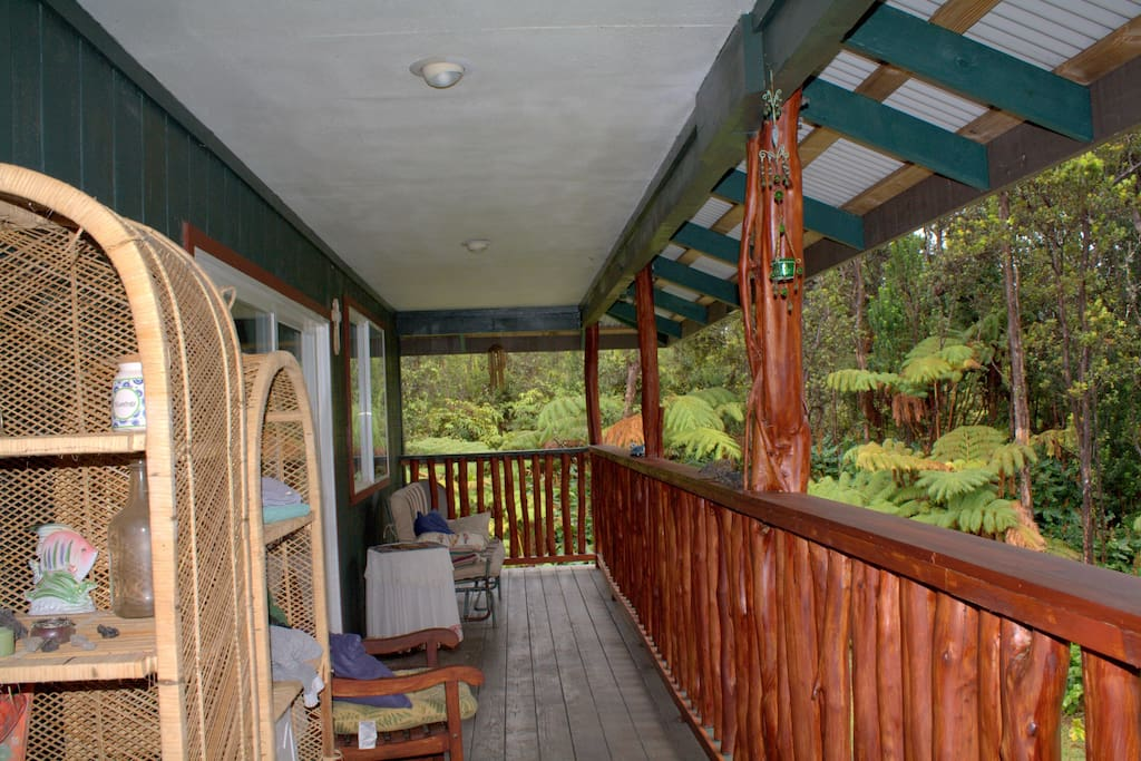Hale Ohana Vacation Rental balcony.  Enjoy the awesome views from the Hawaiian, rain forest.