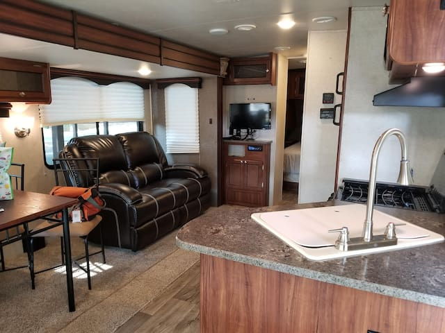 RV Camper with Site at the Speedway, Charlotte NC