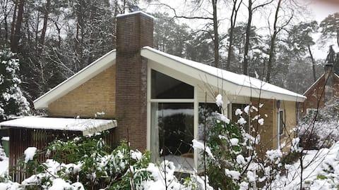 Vrijstaand huis in bos, met openhaard en privacy.