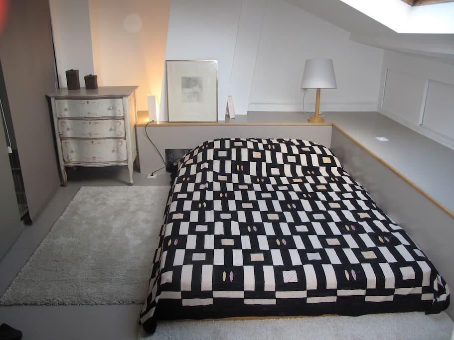 Closed mezzanine double bed room