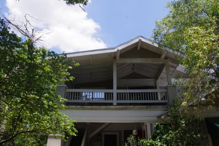 View of porch from the ground. Private and separate entry.