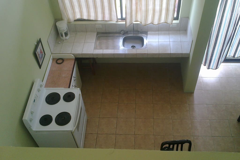 View of kitchen from up stairs
