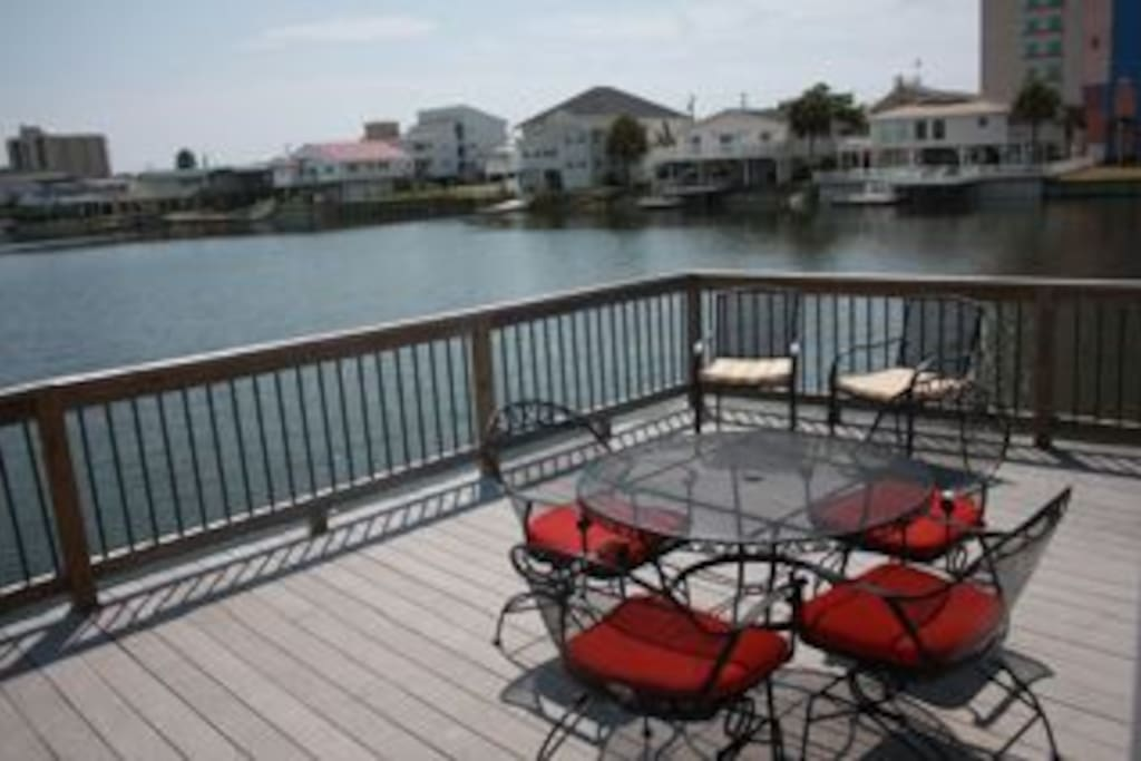 Spacious deck. One of the homes best features! Deck can be accessed from all bedrooms. Perfect for fishing, swimming, or getting sun.