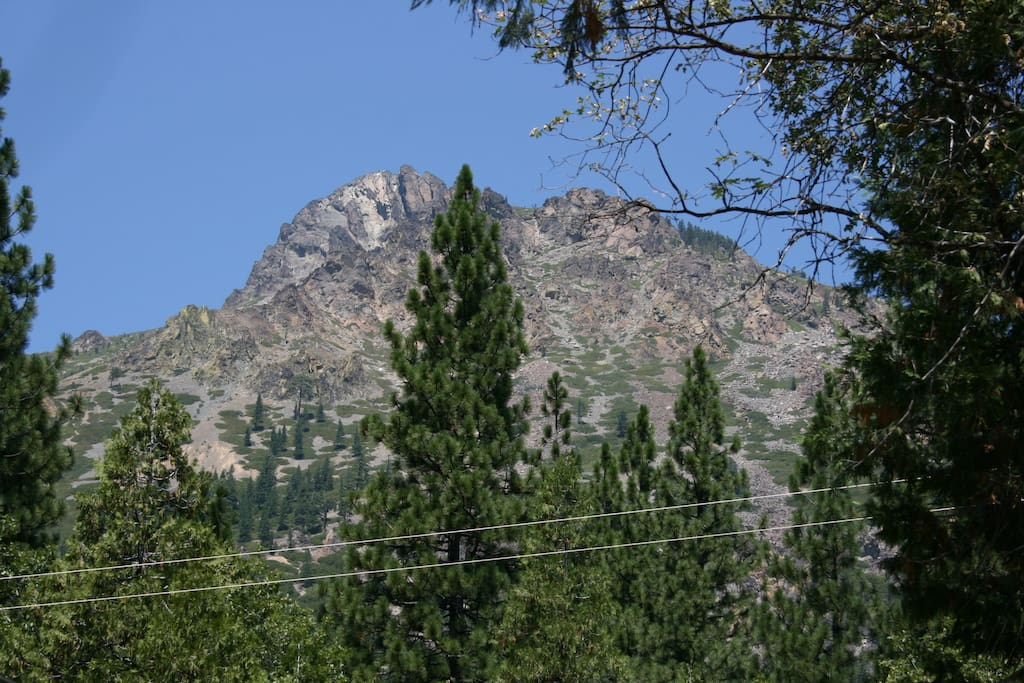 View of the majestic Sierra Buttes from the front porch and dining room. Summer