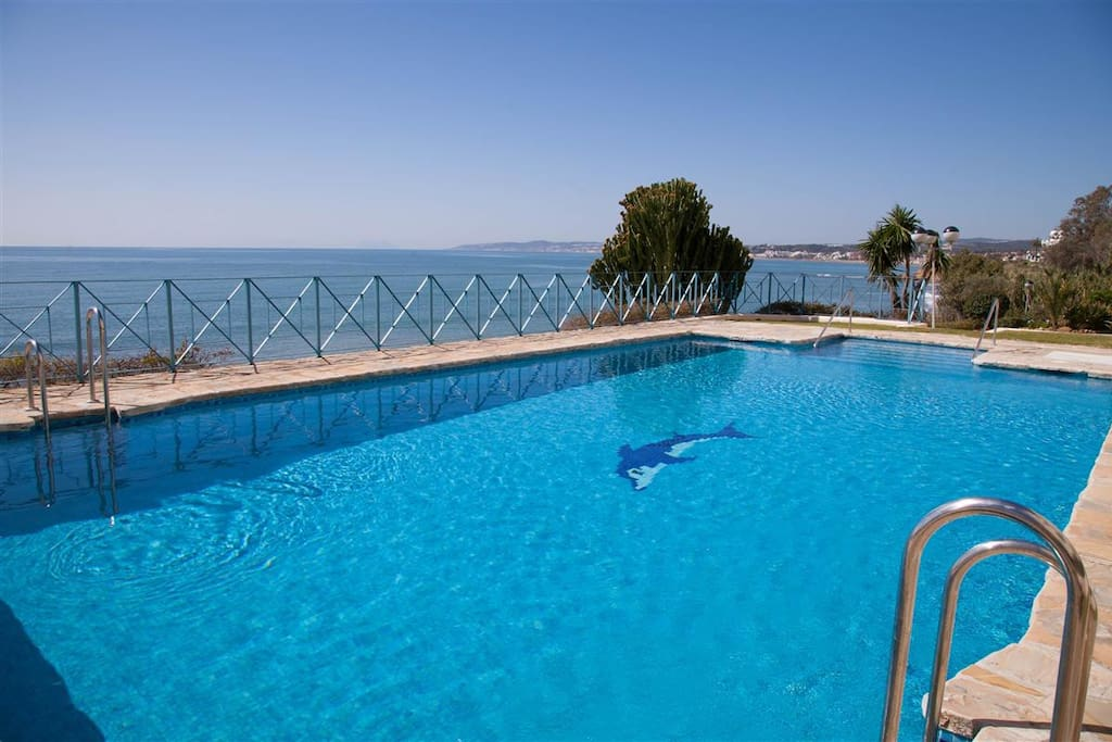 Lovely swimming pool by the beach