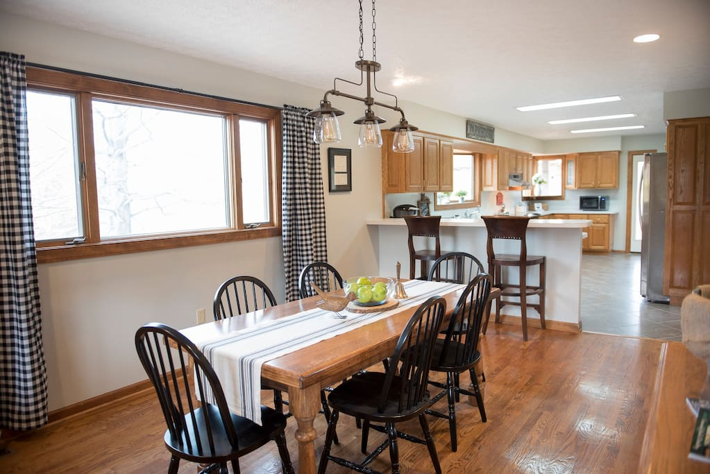 Spacious and open farmhouse kitchen and dining