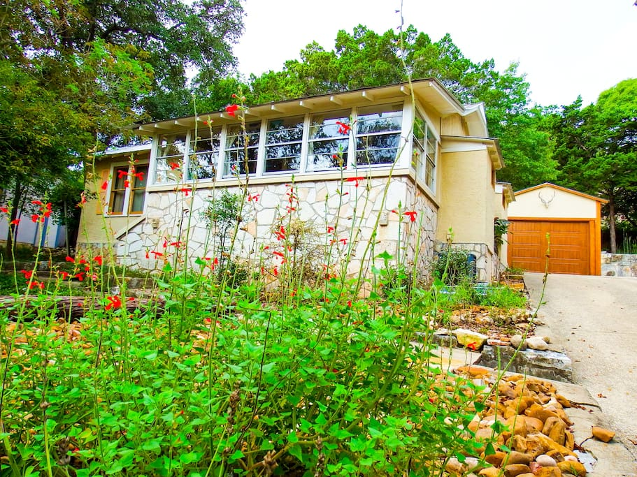 The property is landscaped with mostly native plants, medicinal and cooking herbs.