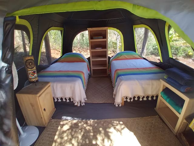 Glamping tent with 2 single beds, lots of windows and a great view to nature.
