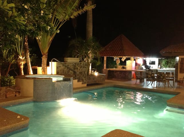 Swimming pool, waterfall from hot tub, tiki bar and great outdoor kitchen and dining.