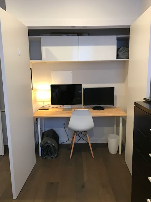 The closet in the guest room is an office!  Feel free to use this as a workspace as needed!  The air mattresses are here as well.