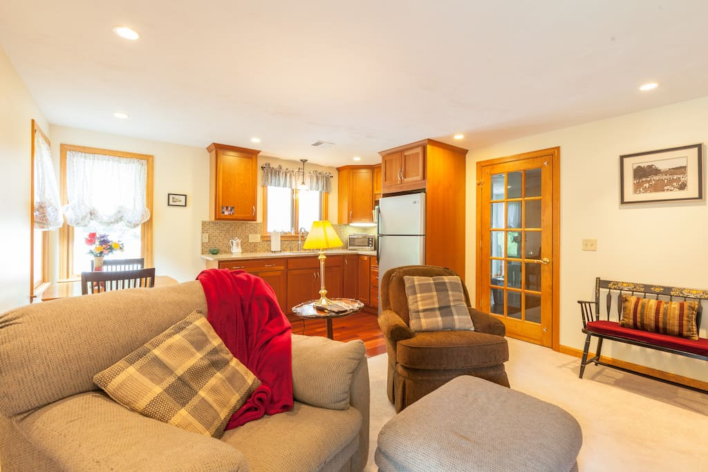 Bright, sunny, large kitchen, dining and living area.