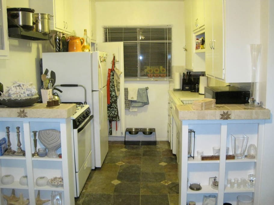 The kitchen has all appliances and even snacks!