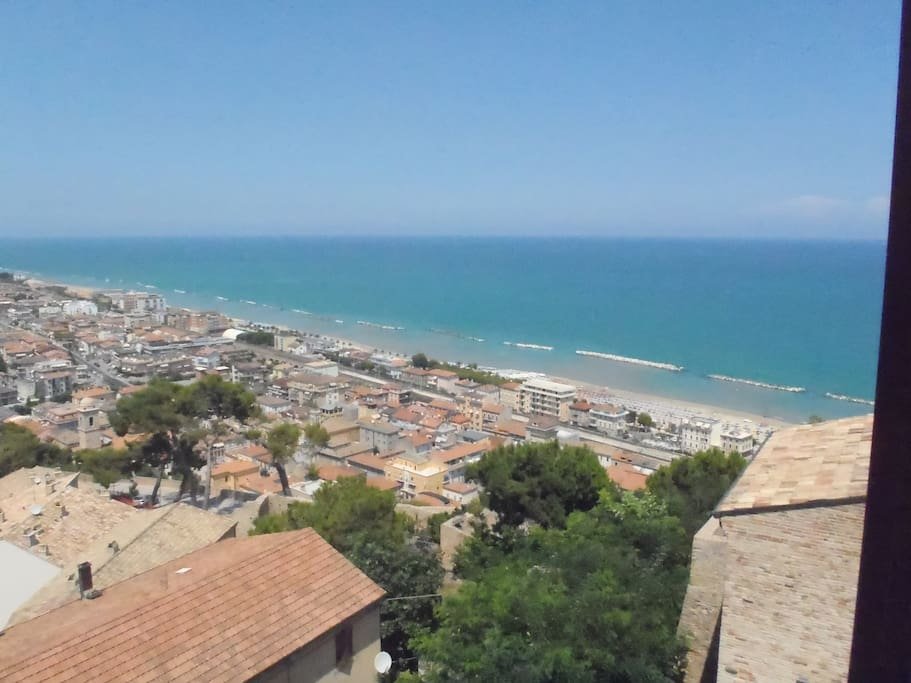 There is a sea view from all windows in the apartment.The beach in Cupra Marittima is soft sand for several kilometers.