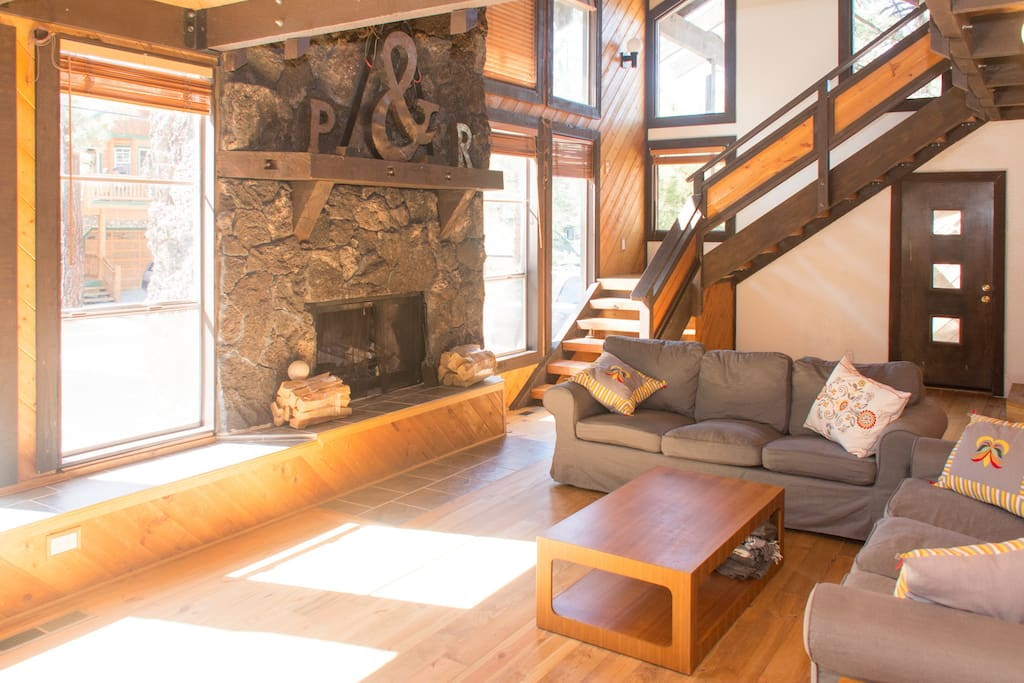 Very bright with huge fireplace