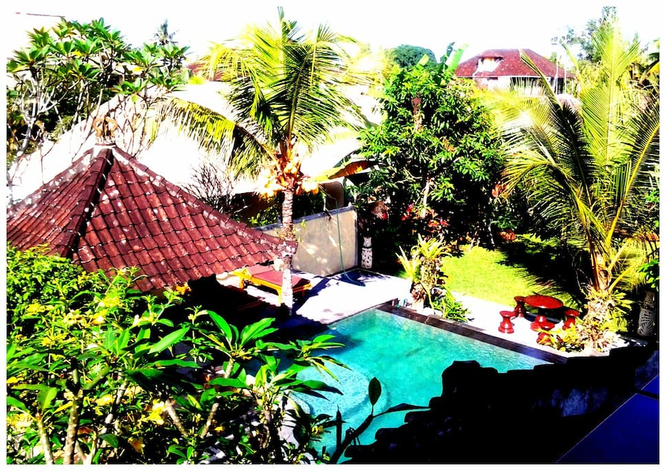 View of garden pool &relaxation area. This is shared with 5 bungalows on the private property.