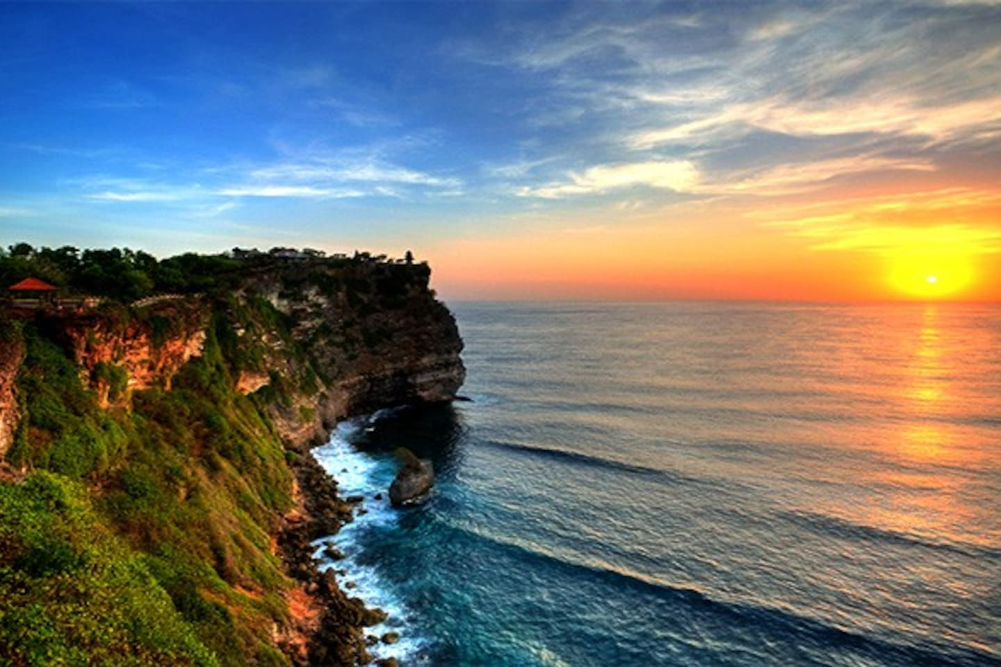 Uluwatu Temple is one of Sad Khayangan (the biggest temple in Bali) owns magnificent view of the Indian Ocean and sunset as a backdrop.