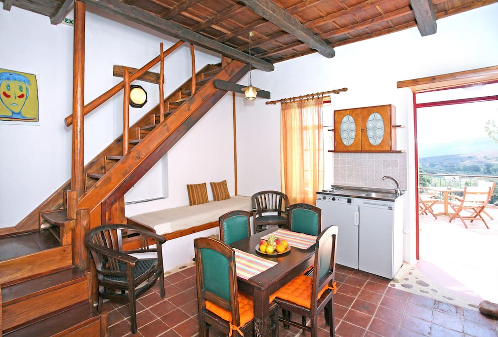 wooden staircase leading to the bedrooms upstairs...