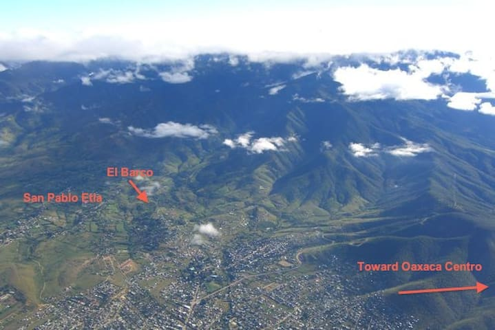 Aerial view of San Pablo Etla showing El Barco location
