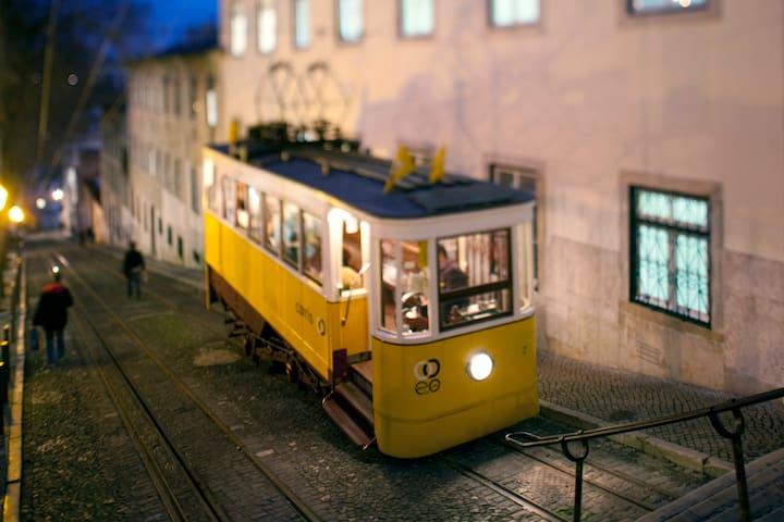 Glória`s tram (just around the corner)