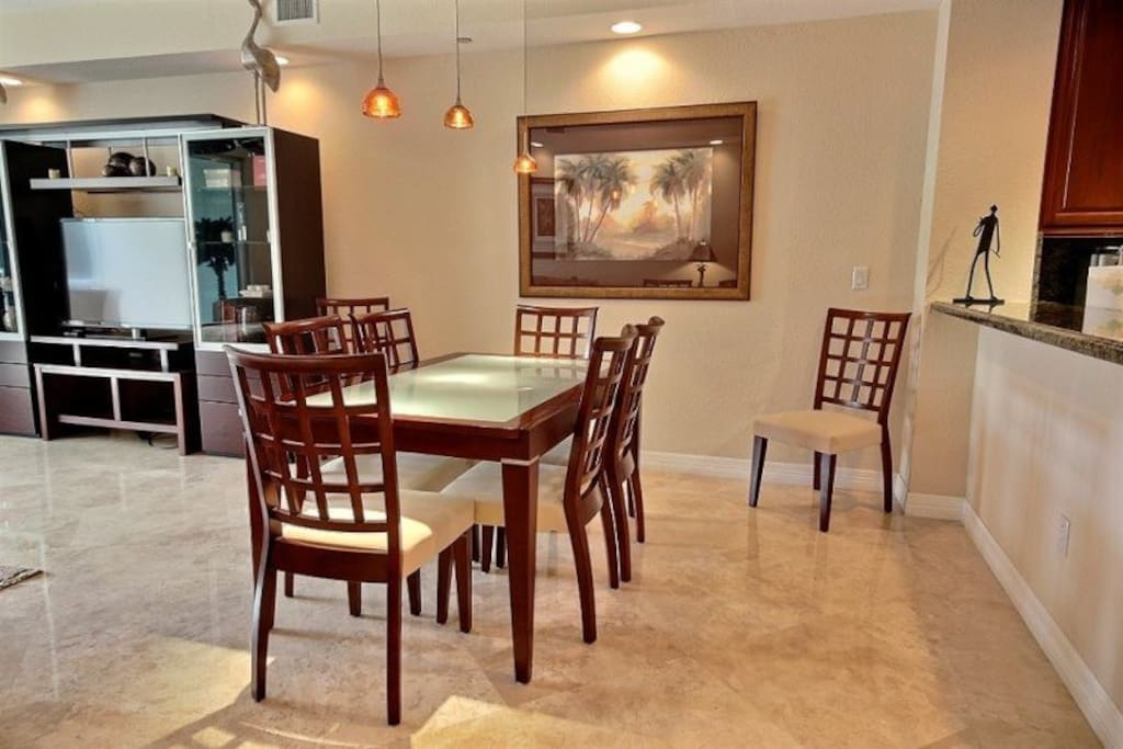 Dining table open to seat 8 comfortably